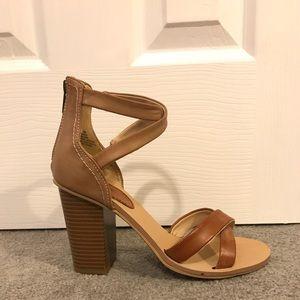 Brown ankle strap heels